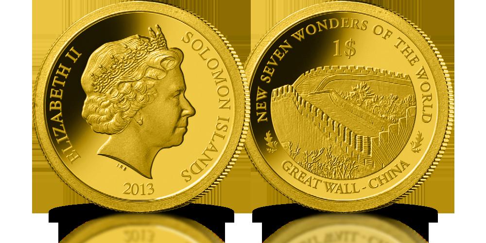 kolekcja złote monety nowe siedem cudów świata chiński mur
