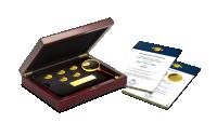 kolekcja złote monety nowe siedem cudów świata kasetka certyfikaty lupa złote monety