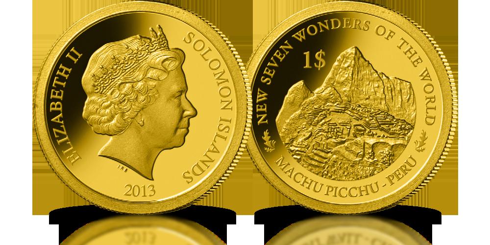 kolekcja złote monety nowe siedem cudów świata machu picchu