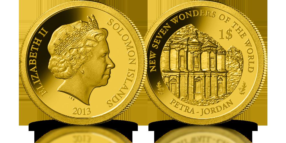 kolekcja złote monety nowe siedem cudów świata petra