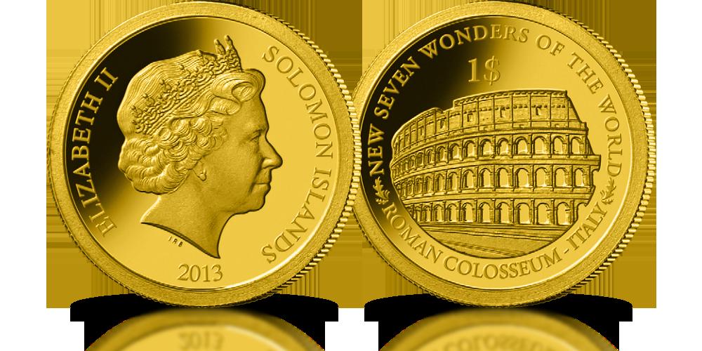 kolekcja złote monety nowe siedem cudów świata rzymskie koloseum