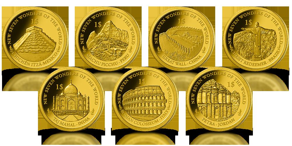 kolekcja złote monety nowe siedem cudów świata zestaw złotych monet petra koloseum taj mahal jezus zbawiciel wielki mur chiński macchu picchu chichen itza