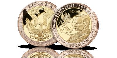 Marszałek Józef Piłsudski w dwóch kolorach złota