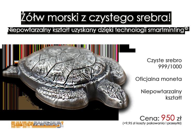 Żółw morski na oficjalnej srebrnej monecie o wyjątkowym kształcie