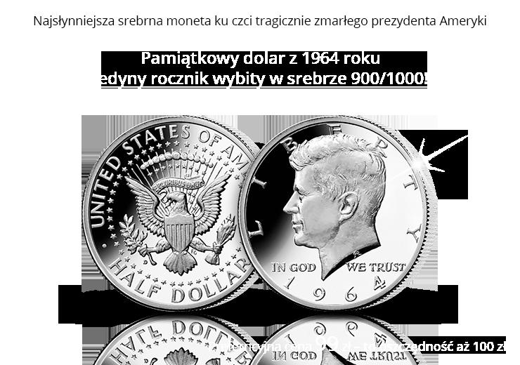 Najsłynniejsza srebrna moneta ku czci tragicznie zmarłego prezydenta Ameryki