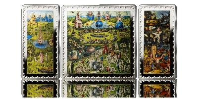 Ogród rozkoszy ziemskich - tryptyk Boscha upamiętniony na 3 srebrnych monetach hiszpańskich.