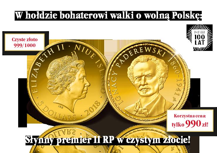 Słynny premier II RP upamiętniony na oficjalnej monecie z czystego złota!