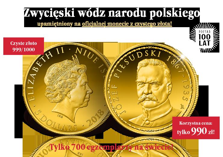 Zwycięski wódz narodu polskiego upamiętniony na oficjalnej monecie z czystego złota!