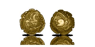 Oryginalna złota moneta sprzed narodzin Chrystusa Celtycki złoty półstarter