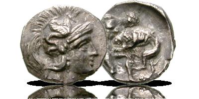 Starożytny diobol z wizerunkiem Heraklesa