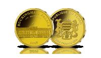 pałac buckingham na złotej monecie wybitej w najwyższej jakości menniczej stempel lustrzany