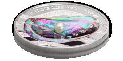 Pamiątkowa srebrna moneta z prawdziwą perłą