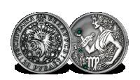 Srebrna moneta z kryształkami Swarovskiego - Panna