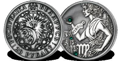 Panna - znak zodiaku na srebrnej monecie ozdobionej kryształkami Swarovskiego
