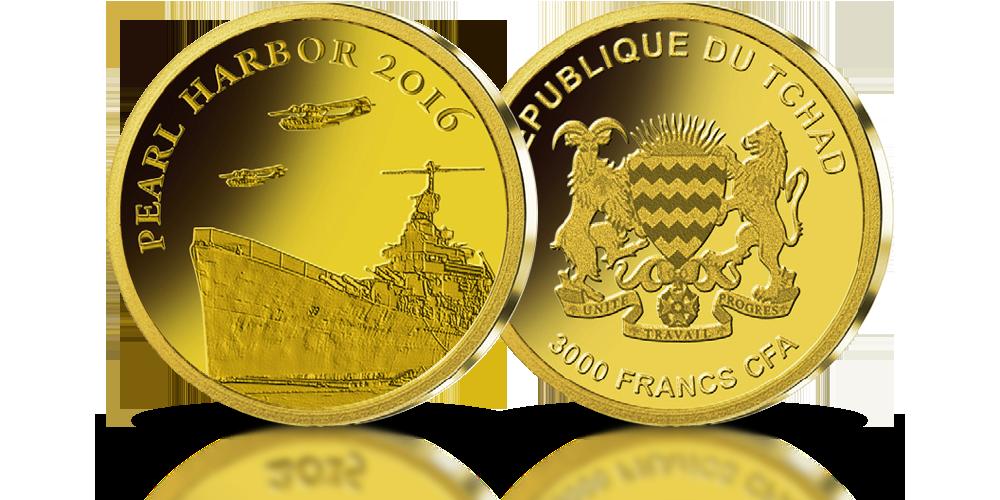 pearl harbor złota moneta ymboliczne przedstawienie japońskiego ataku na amerykańską bazę