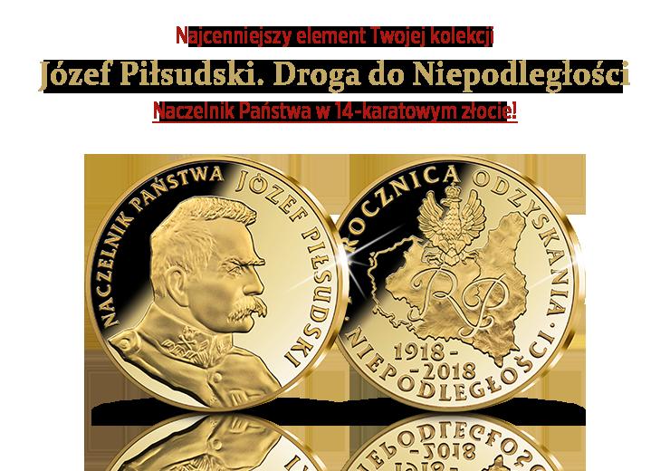 Naczelnik Państwa Józef Piłsudski upamiętniony w 14-karatowym złocie!