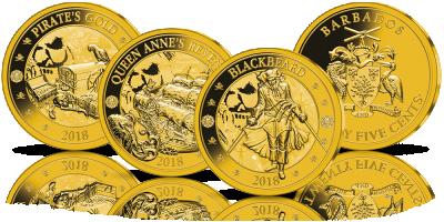 Piraci z Barbadosu - zestaw 3 monet platerowanych 24-karatowym złotem