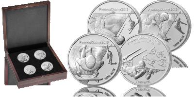 Pjongczang 2018 unikalny zestaw oficjalnych srebrnych monet!