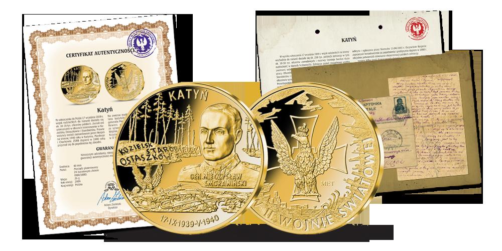 Katyń - uszlachetniony złotem medal w hołdzie polskim bohaterom