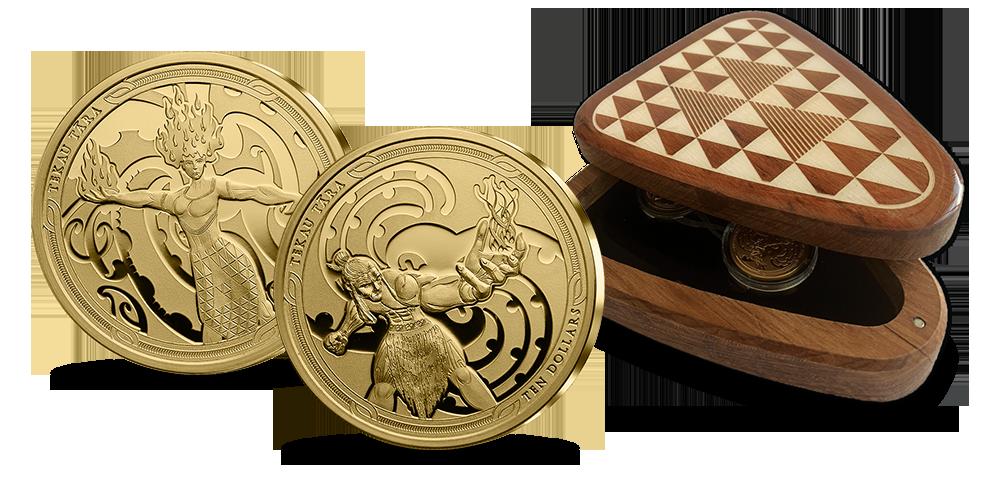 zlota-moneta-nowa-zelandia-maui-mahuika-zestaw