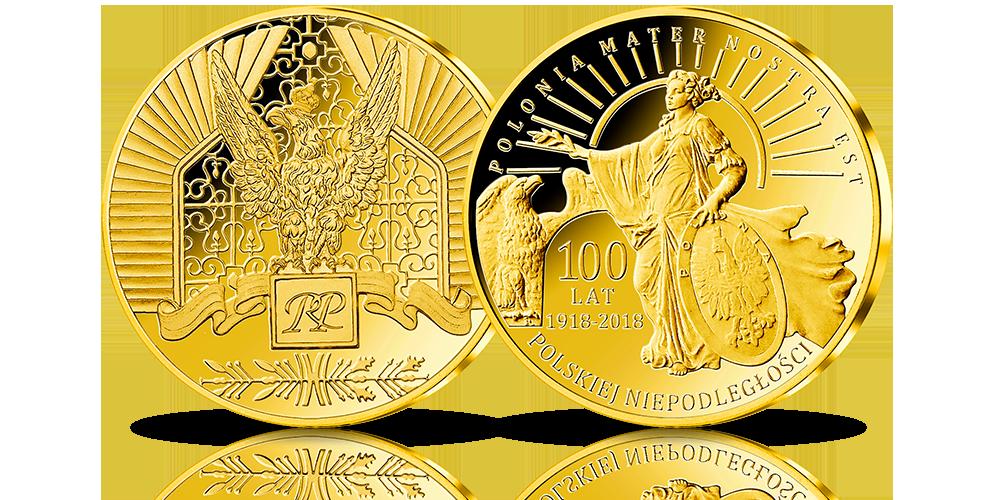 """Medal pamiątkowy """"Polonia"""" w złocie 999/1000 z certyfikatem Fairmined Gold"""