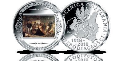 Polonia - Rok 1863 - obraz Matejki na medalu uszlachetnionym srebrem