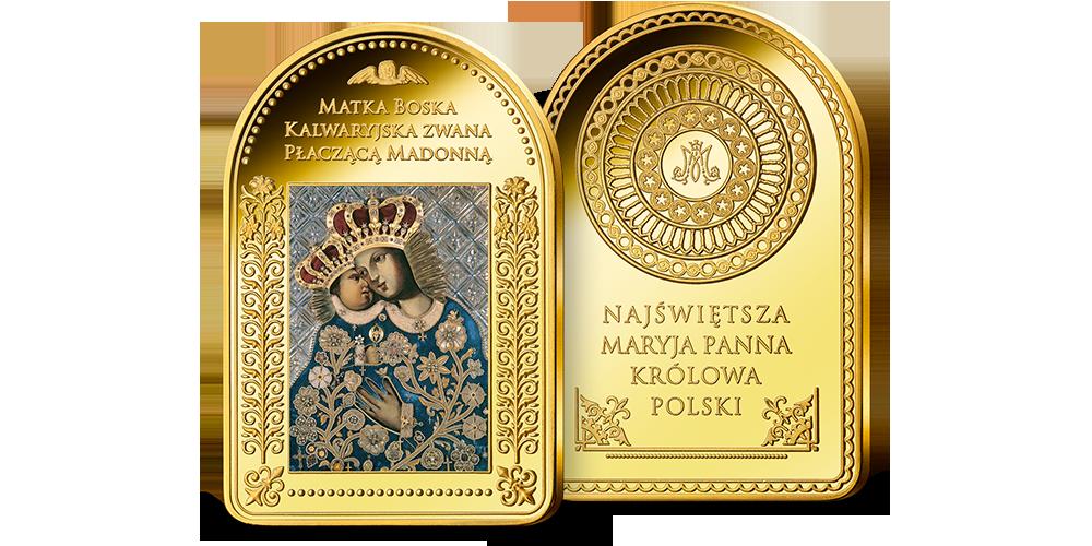 Matka Boża Kalwaryjska z Dzieciątkiem na sztabce platerowanej cennym złotem