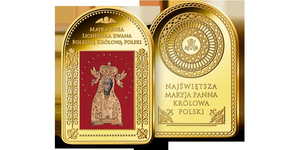 Matka Boża Licheńska na medalu uszlachetnionym cennym złotem