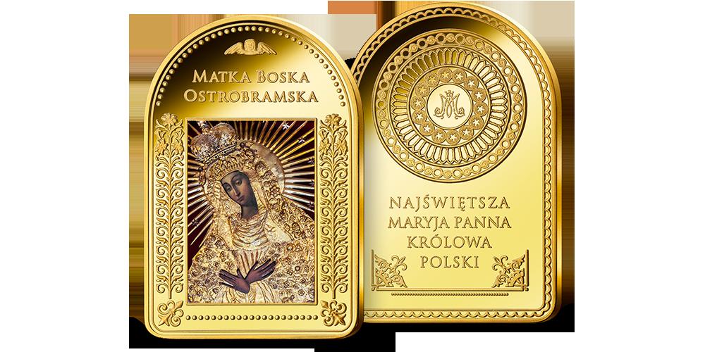 Matka Boska Ostrobramska poplaterowana czystym złotem