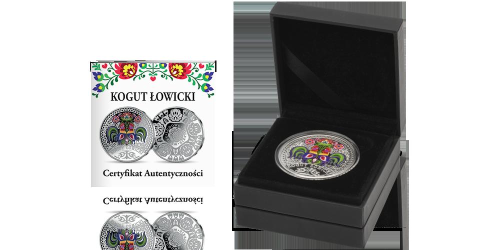 Kogut Łowicki w czystym srebrze