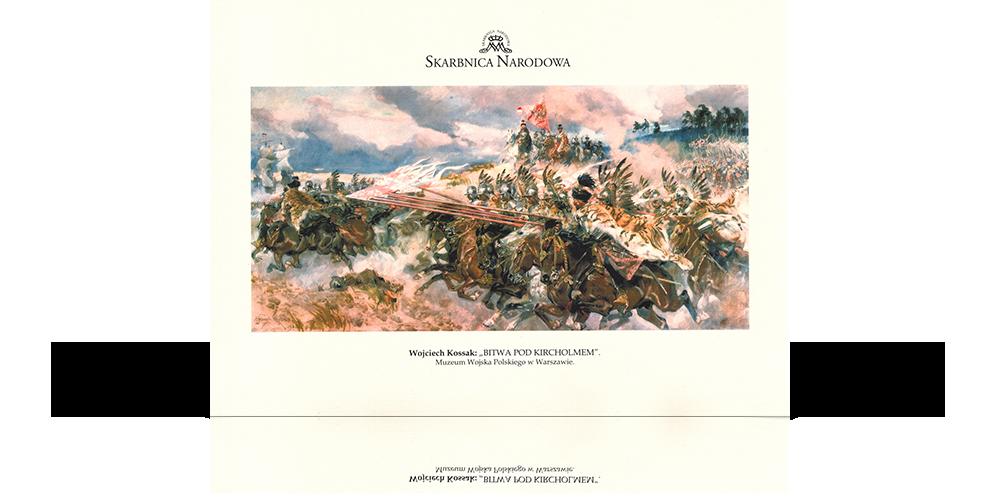 barwna reprodukcja obrazu bitwa pod kircholmem z logo skarbnica narodowa