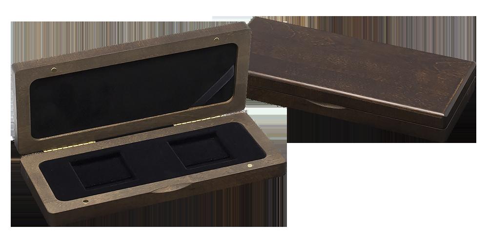 Drewniane pudełko na dwie monety.