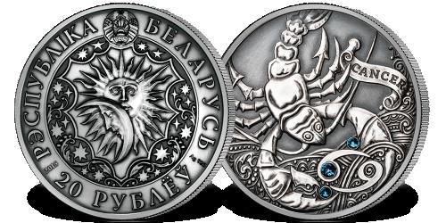Srebrna moneta z kryształkami Swarovskiego - Rak