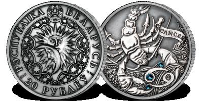 Rak - znak zodiaku na srebrnej monecie ozdobionej kryształkami Swarovskiego