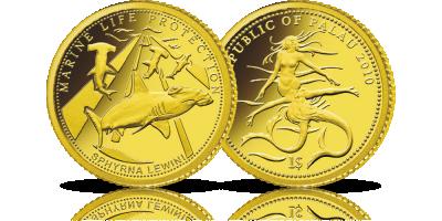 Rekin młot - drapieżca uwieczniony na złotej monecie