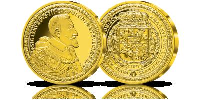 Replika studukatówki Zygmunta III Wazy z 1621 roku w  czystym srebrze i złocie