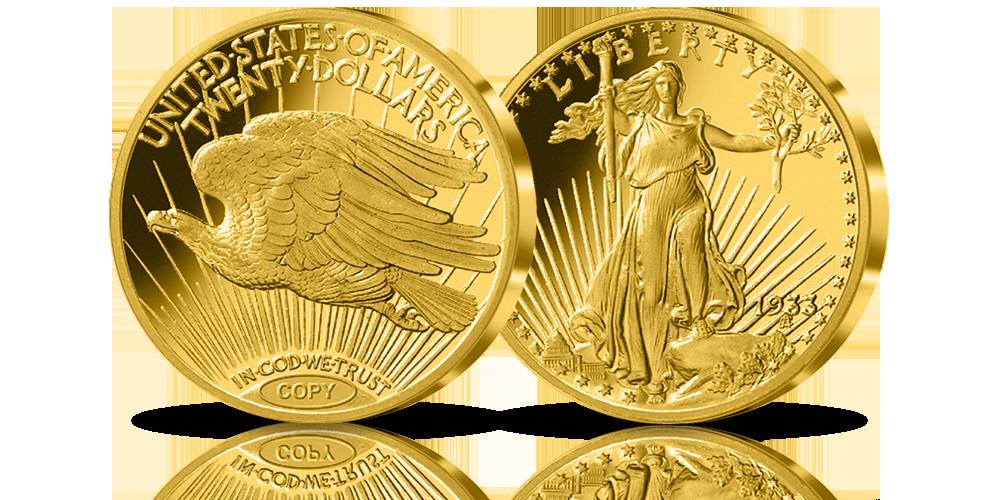 Double Eagle z 1933 r. moneta warta 7,59 mln dolarów - złota replika