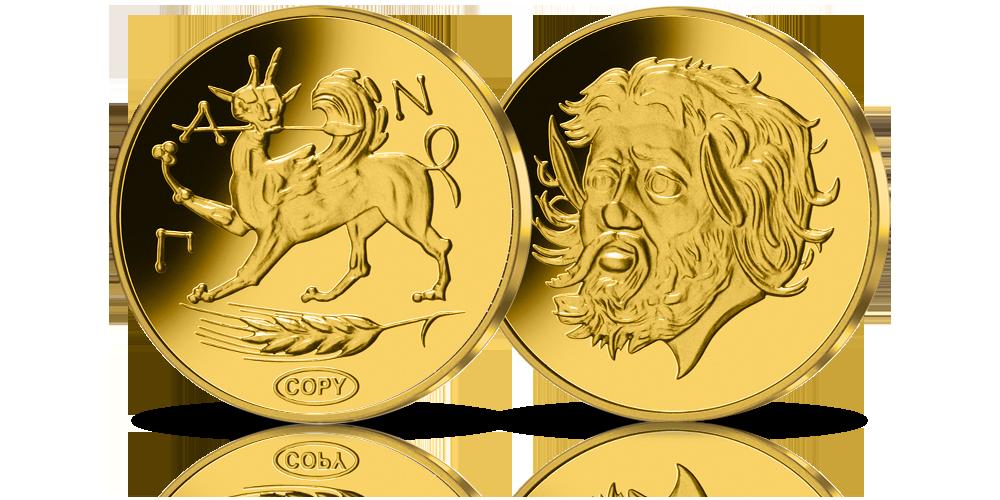 moneta złoty Stater z ok. 4 w.p.n.e. - złota replika  monety wartej 3,25 mln dolarów