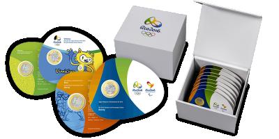 Kompletny zestaw 16 oficjalnych monet olimpijskich igrzysk w Rio - po raz pierwszy w historii z Ameryki Południowej!