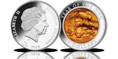 Rok psa oficjalna srebrna moneta z masą perłową