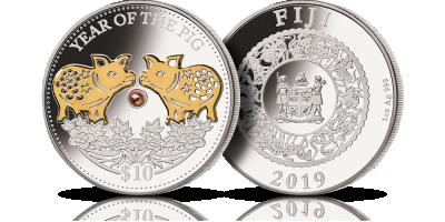 Rok Świni - chiński zodiak na srebrnej monecie z perłą