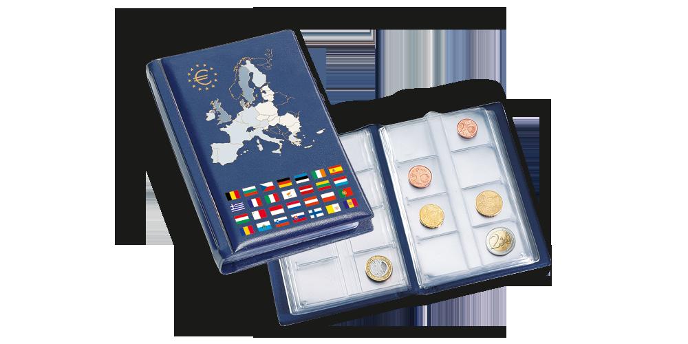 Album kolekcjonerski do przechowywania monet euro.