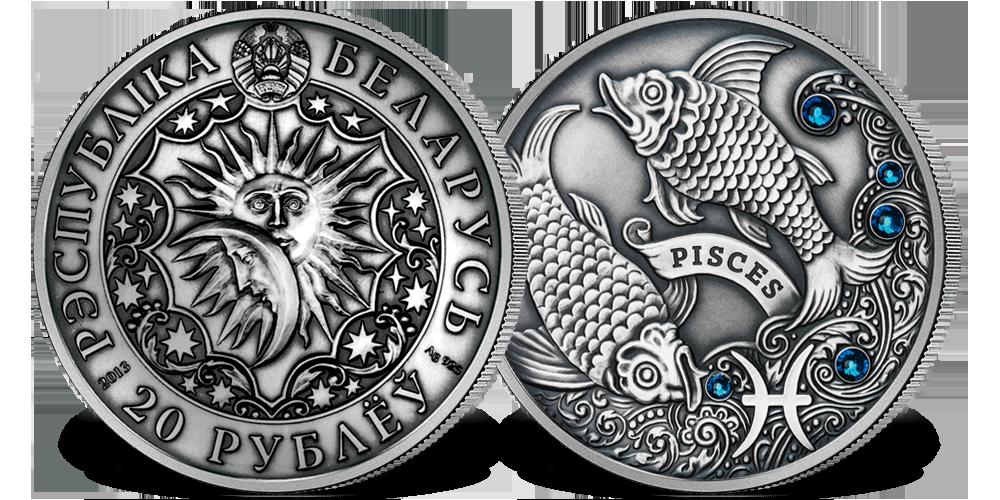 Srebrna moneta z kryształkami Swarovskiego - Ryby