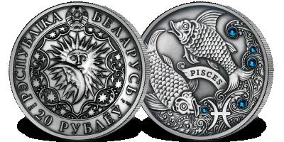 Ryby - znak zodiaku na srebrnej monecie ozdobionej kryształkami Swarovskiego