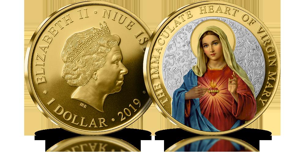 Matka Boża Niepokalanego Serca. Oficjalna moneta platerowana czystym srebrem i złotem