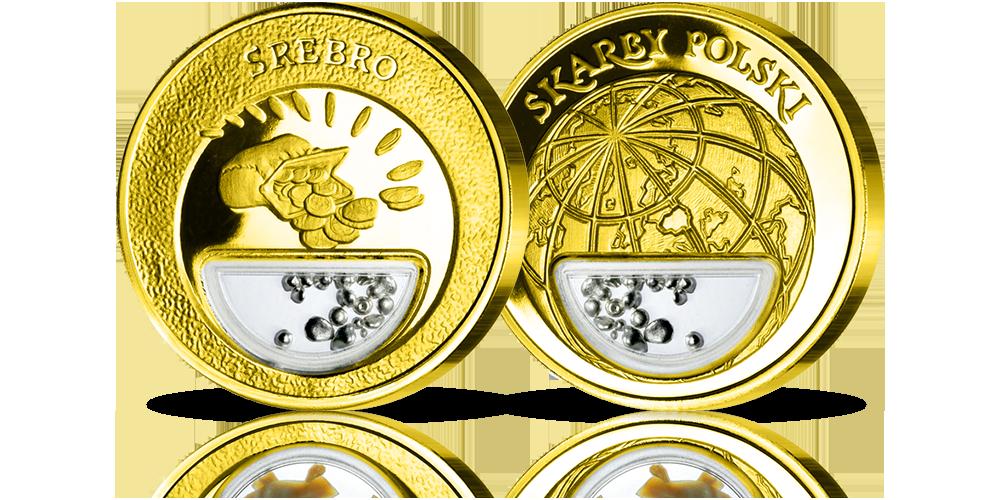 Uszlachetniony złotem medal zawierający srebro