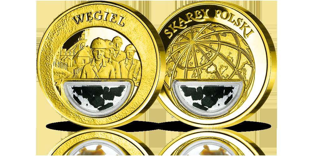 Uszlachetniony złotem medal Węgiel