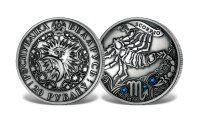 Srebrna moneta z kryształkami Swarovskiego - Skorpion