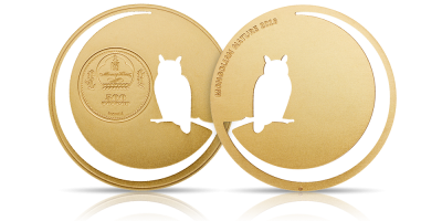 Sowa - srebrna moneta z laserowymi wycięciami