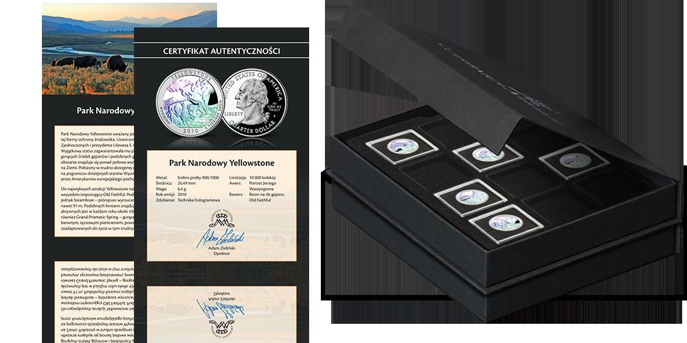Srebrne monety amerykańskie z hologramem. Akcesoria w ramach kolekcji.